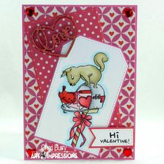 Art Impressions Rubber Stamps:  4885 – Nuts About You. Handmade Valentine's card with squirrels.