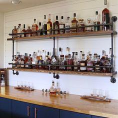 Diy Home Bar, Bars For Home, Bar Shelves, Wall Bar Shelf, Wine Shelves, Floating Shelves, Industrial Pipe Shelves, Pipe Shelving, Kitchen Industrial