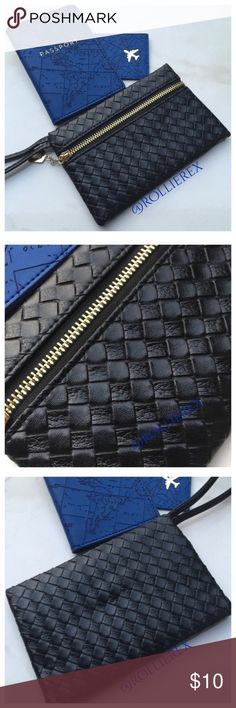 Black Wristlet Simple, classy and handy. It can be carried like a clutch or looped over the wrist. New without tags. Width: 7 inches • Height: 5 inches Bags Clutches & Wristlets