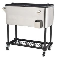 Patio/Garage Beverage Cooler   Stainless Steel 80qt.