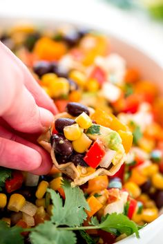 A Scoop Tortilla loaded with Black Bean and Corn Salsa.