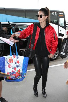 Lily Aldridge Photos - Lily Aldridge is seen at LAX on April - Lily Aldridge Is Seen at LAX Red Bomber Jacket, Country Music Awards, Thing 1, Lily Aldridge, Leather Ankle Boots, Everyday Fashion, The Row, Saint Laurent, Street Style