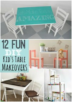 12 Fun DIY Kid's Table Makeovers. Such pretty updates for consignment sale kids' furniture.
