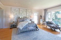 Hollywood Glamour at the 2016 Wattles Mansion Showcase House. The room was designed by Kathryne Dahlman using Meoded white Pearlas Velvet suede paint and Sapphire Metallic paint.