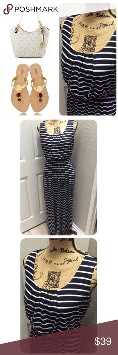 Stripped Maxi Dress Beautiful and comfy. 73% Polyester, 24% Rayon and 3% Spandex. Never used, tags have been removed. Made in USA. Color navy blue. Signature By Robbie Bee Dresses Maxi