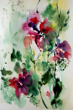 Abstract Nature Original Watercolor Painting by CanotStop