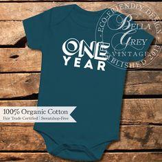 One Year Old Onesie - First Birthday Modern Style - 100% Organic Cotton - 1st Birthday Gift