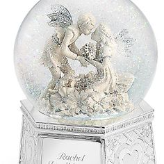 """♫ Plays """"Waltz of the Flowers"""" / Personalized Fairies of Love Musical Water Globe , Add Your Message"""