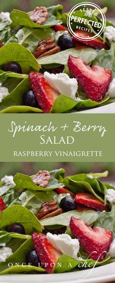 Spinach Salad with Berries, Pecans amp; Goat Cheese in Raspberry Vinaigrette Baby Spinach with Fresh Berries, Pecans amp; Goat Cheese in Raspberry VinaigretteBaby Spinach with Fresh Berries, Pecans amp; Goat Cheese in Raspberry Vinaigrette Baby Spinach Salads, Savory Salads, Healthy Salads, Healthy Eating, Healthy Recipes, Taco Salads, Spinach Recipes, Salads With Goat Cheese, Spinach Goat Cheese Salad