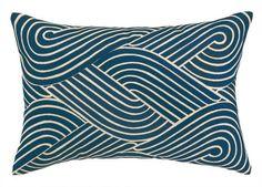 Navy Blue Coastal Waves Modern Throw Pillow
