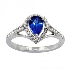 Natural Tanzanite 7x5mm Pear Cut Ring with White Topaz
