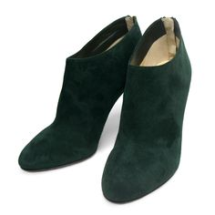 Very soft suede Mendez ankle boots from Jimmy Choo in a very rare dark green color. This fantastic pair features an almond toe, a  golden tone logo zip fastening and a high stiletto heel.Size: 39.5.Tonal topstitching.Back zip eases dress.Smooth outsole.Made in Italy.