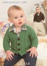 Boy's Cardigans in Sirdar Snuggly DK - 1265 Baby Boy Knitting Patterns Free, Sirdar Knitting Patterns, Baby Cardigan Knitting Pattern, Knitting For Kids, Knitting Designs, Baby Patterns, Knitting Wool, Baby Boy Cardigan, Knitted Baby Cardigan