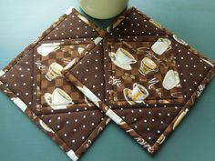 Quilted Pot Holders /Set of two pot holders, Coffee, Latte theme fabric, brown and beige by RubysQuiltShop on Etsy