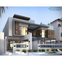 Pin by a+y architects (d f design) on inspiration idea -- ho Bungalow House Design, House Front Design, Modern Bungalow, Modern Architecture House, Architecture Design, Modern Villa Design, Model House Plan, Appartement Design, Facade Design