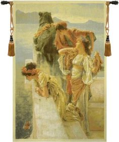 Woven in Belgium History: Three Virgins Belgian chenille tapestry features a scene with three maidens by the water of a mountain lake. This beautiful tapestry s