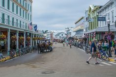 Mackinac Island, MI main town, looking west. Transportation today & not once upon a time here is by horse, bike, or foot. - Mackinac Island - Wikipedia, the free encyclopedia