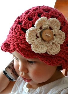 Summer cotton beanie with granny square stitch and by Twistyourtop, $27.00