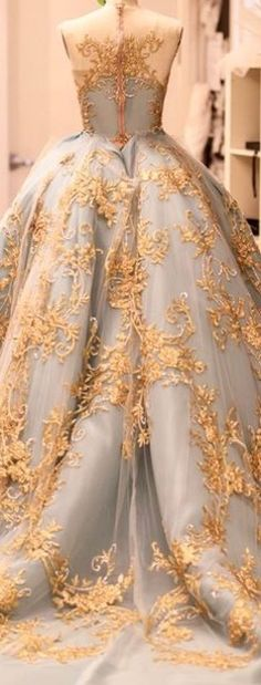 absolutely splendid ball gown wedding dress with gold lace embellished tulle over a pale blue satin. Evening Dresses, Prom Dresses, Formal Dresses, Wedding Dresses, Gown Wedding, Beautiful Gowns, Beautiful Outfits, Fantasy Dress, Ball Gowns Fantasy