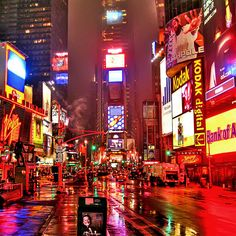 Wet New York by Mike G. K., via Flickr (Times Square)