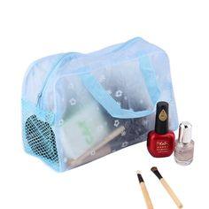 Estampado floral Bolsas de Maquillaje Transparente Impermeable maquillaje organizador Cosmético del recorrido Del artículo de Tocador de La Bolsa de Baño venta en Todo El Mundo