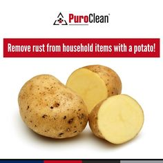 Try this household cleaning hack to remove rust with a potato! Cut the potato in half and dip it in baking soda or dish soap. Then, rub the flat surface of the potato on the rusted area until the rust is gone. The oxalic acid in the potato helps dissolve rust from items such as knives and pans. House Cleaning Tips, Cleaning Hacks, Oxalic Acid, How To Remove Rust, Household Items, Clean House, Baking Soda, Sweet Potato, Dips