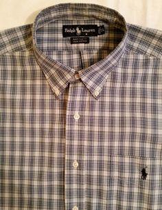 RALPH LAUREN BARTLETT Shirt Blue Plaid Short Sleeve Dress Casual Men's sz XL #LaurenRalphLauren #ButtonFront