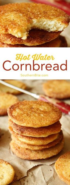 This Hot Water Cornbread recipe only calls for 2 ingredients and is the perfect complement to nearly any meal! This Hot Water Cornbread recipe only calls for 2 ingredients and is the perfect complement to nearly any meal! Fried Cornbread, Cornbread Recipes, Recipe For Hot Water Cornbread, Southern Cornbread Recipe, Hot Water Bread Recipe, Self Rising Cornbread Recipe, Vegan Corn Bread Recipe, Cornmeal Cornbread, Breakfast