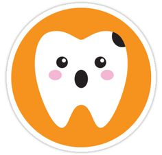 Fun sticker and shirts featuring a cute, kawaii style tooth with a black cavity on an orange background. The tooth looks upset and chocked.