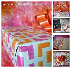 Create your own custom gift wrapping paper with fun color schemes and stencil patterns