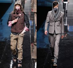BLACKGATEONE 2014-2015 Fall Autumn Winter Mens Runway Looks - Shanghai Fashion Week China - Oversized Outerwear Coat Bomber Down Puffer Jacket Scarf Furry Wool Hoodie Zippers Skinny Leggings Cape Cloak Straps Necktie Suit Knit Cap Mask Motorcycle Biker Rider Gloves Camouflage Quilted Animal Spots Gold Silver Metallic Multi Panel Ornamental Print Decorative Art Socks With Sandals Knit Sweater Jumper Turtleneck Funnelneck Stripes Shorts Blazer Shorts