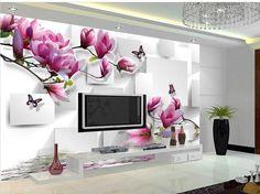 Personalizar papel de parede orquídea reflexão de estéreo 3D TV fundo mural papel de parede 3D shipping4288