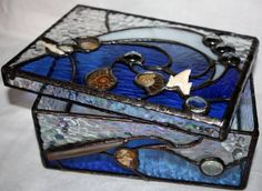 stained glass box deep in the ocean handmade with by Levantese