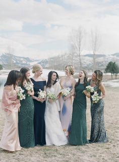 Enchanting & romantic mountain wedding in Aspen Winter Bridesmaid Dresses, Mismatched Bridesmaid Dresses, Wedding Dresses, Bridesmaids, Real Weddings, Winter Weddings, Bridesmaid Inspiration, Wedding Beauty, Elegant Wedding
