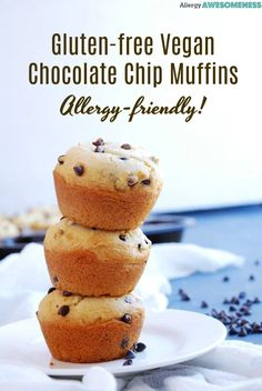 Soft muffins overflowing with mini chocolate chips make this bakery favorite an . Soft muffins overflowing with mini chocolate chips make this bakery favorite an accessible homemade Chocolate Chip Muffins, Mini Chocolate Chips, Vegan Chocolate, Chocolate Recipes, Dairy Free Muffins, Vegan Muffins, Mini Muffins, Allergy Free Recipes, Vegan Recipes