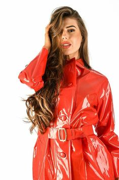 Black Raincoat, Red Leather, Leather Jacket, Rain Wear, Greatest Hits, Girls, Jackets, Fashion, Red Raincoat