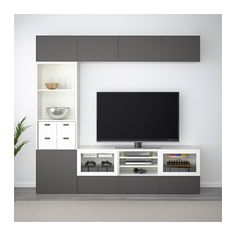 BESTÅ TV storage combination/glass doors IKEA The drawers and doors close silently and softly, thanks to the integrated soft-closing function. Tv Cabinet Design, Tv Wall Design, At Home Furniture Store, Modern Home Furniture, Living Tv, Tv Unit Furniture, Tv Unit Decor, Living Room Tv Unit Designs, Tv Storage