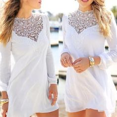 Lace Front Tunic in White NWT Gorgeous tunic, perfect for summer. The light material keeps you cool and the romantic lace detail make you stand out. Please let me know what size you would like and I will make you a listing! No trades. BeatnikNation Dresses Mini