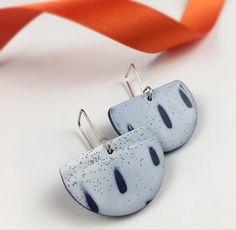 Polymer clay earrings-  semi circle earrings - geometric earrings - enamel inspired - drop earrings - half moon shape - silver hook earring