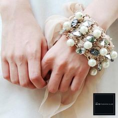TEFC Pearl & Crystal Cluster Chiffon Tie Bracelet | Use this exclusive code: PINTEREST05 for 5% off all fashion products @ theelitefashionclub.storenvy.com