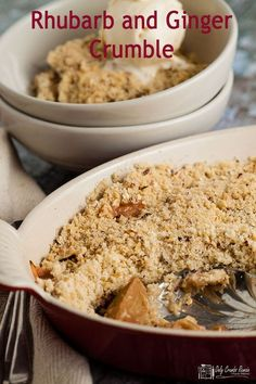 A classic rhubarb crumble recipe pimped with the addition of stem ginger and nuts and oats added to the crumble mix for extra texture and crunch. Hot Desserts, Great Desserts, No Bake Desserts, Delicious Desserts, Dessert Recipes, Fruit Recipes, Recipes Dinner, Crumble Recipe, Crumble Topping