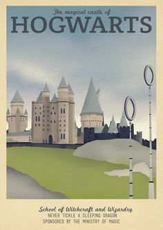 This collection of retro travel posters combines the art deco design style of the 1960's with popular fantasy locations from books and movies.