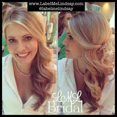 Bridal hair wedding hair side hair side pony down and to the side wedding makeup soft makeup less makeup bridal makeup label me Lindsay www.labelmelindsay.com