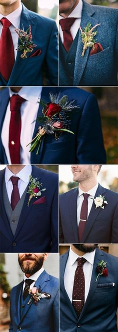 navy blue and burgundy wedding ideas grooms look, wedding boutonnierem diy weddi. navy blue and burgundy wedding ideas grooms look, wedding boutonnierem diy wedding decorations, wed Maroon Wedding, Wedding Men, Trendy Wedding, Dream Wedding, Suit For Wedding, Navy And Burgundy Wedding, Burgundy Wedding Flowers, Casual Wedding, Diy Wedding