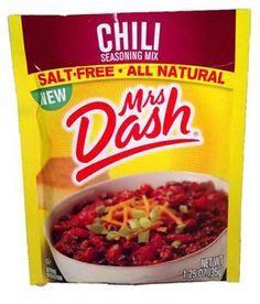 Mrs Dash Salt-Free chili Seasoning Mix- F. Dash sloppy joe seasoning mix tastes like chili and is hot! Chili Seasoning Mix, Salt Free Seasoning, No Sodium Foods, Low Sodium Recipes, Low Sodium Chili Recipe, Mrs Dash Recipe, Chili Recipes, Healthy Recipes, Diet Recipes