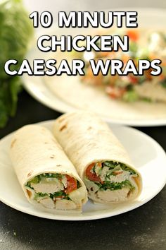 Healthy Chicken Caesar Wraps that are ready in less than 10 minutes . perfect for busy weeknights or a quick meal on the go! Fresh and simple, these wraps will become a family favorite. Healthy Food List, Healthy Chicken, Healthy Recipes, Chicken Recipes, Healthy Meals, Cooking Recipes, Eating Healthy, Chicken Caesar Wrap, Chicken Caesar Salad