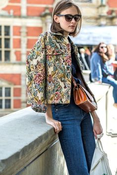 A cropped tapestry jacket makes for the perfect lightweight layer.