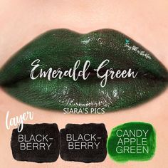 "Learn to mix it up. Use LipSense Mixology to create this ""Emerald Green"" LipColor by layering Candy Apple & Blackberry.  #lipsense #mixitup"