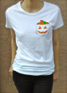 Womens Halloween Pumpkin Pocket Tee    NOTE: SWEATSHIRT AND HOODIE SIZES ARE UNISEX    Bee's Pocket Tees are 100% cotton pocketless shirts with