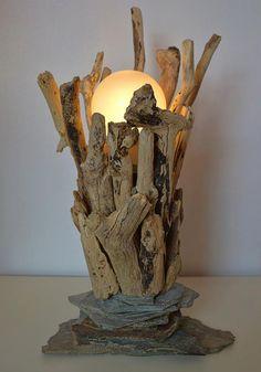 Driftwood and Slate Table Lamp by CornishCreationsUK on Etsy, £29.99